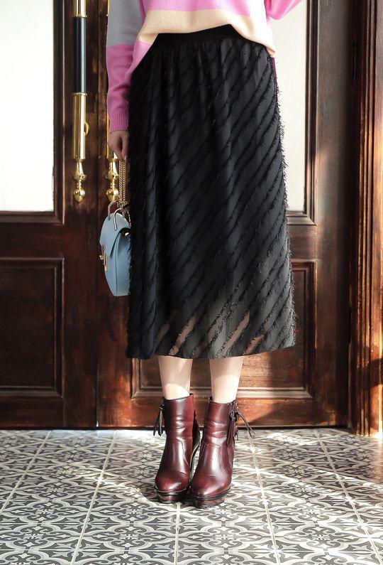 溫莎女爵毛毛雪紡裙191106  {預購+現貨}