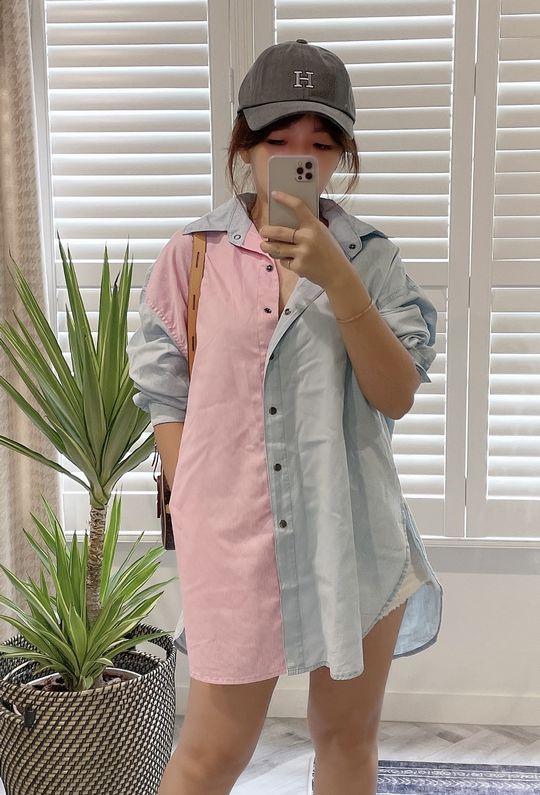 粉紅光圈軟丹寧襯衫 210916 {預購+現貨}